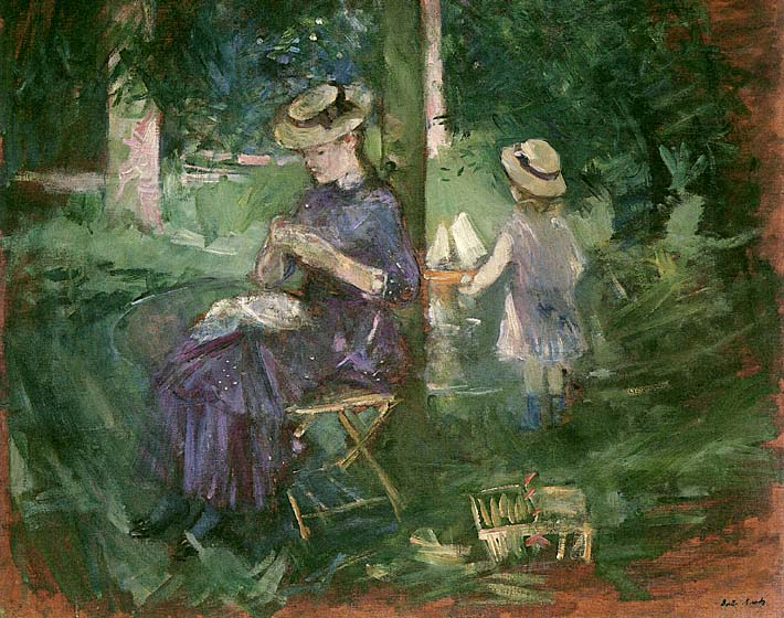 Berthe Morisot Young Woman Sewing in a Garden stretched canvas art print