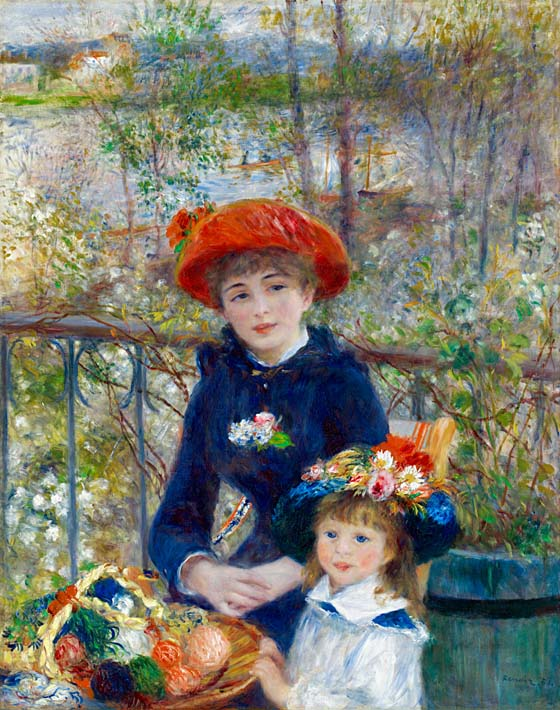 Pierre Auguste Renoir Two Sisters on the Terrace stretched canvas art print