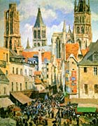 Camille Pissarro The Old Market-Place in Rouen and the Rue de l'Epicerie