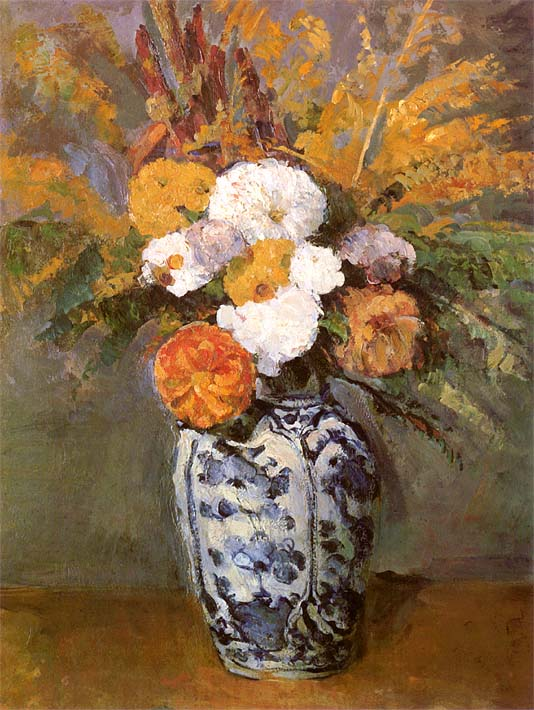 Paul Cezanne Dahlias in a Delft Vase stretched canvas art print