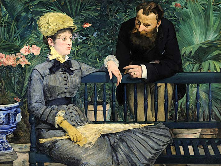 Edouard Manet In the Conservatory stretched canvas art print