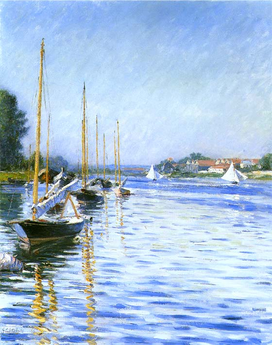Gustave Caillebotte Boats on the Seine at Argenteuil stretched canvas art print