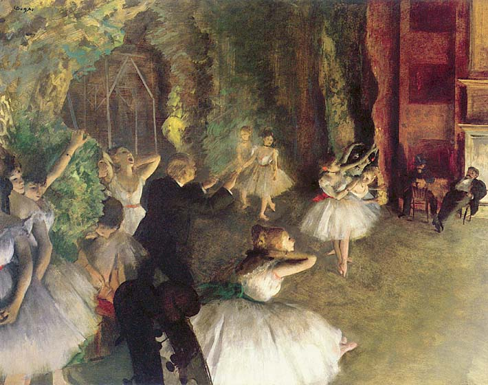 Edgar Degas Ballet Rehearsal on Stage stretched canvas art print