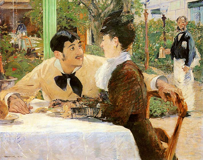 Edouard Manet In the Garden Restaurant of Pere Lathuille stretched canvas art print