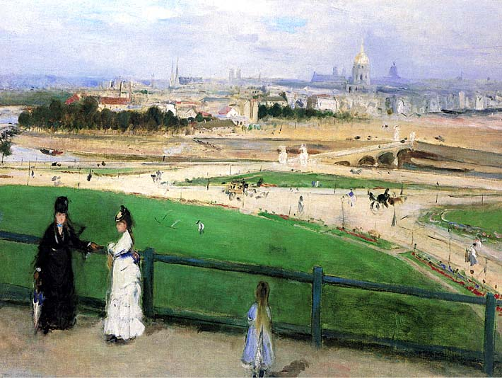 Berthe Morisot View of Paris from the Trocadero stretched canvas art print