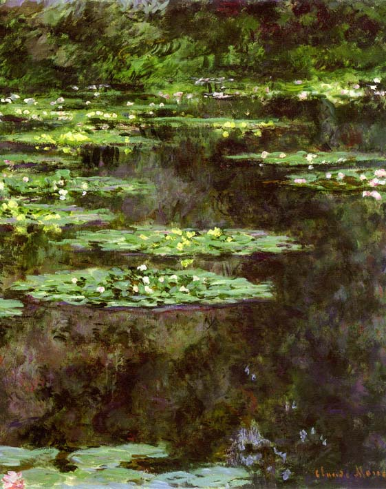 Claude Monet Water-Lilies 1904 (portrait detail) stretched canvas art print