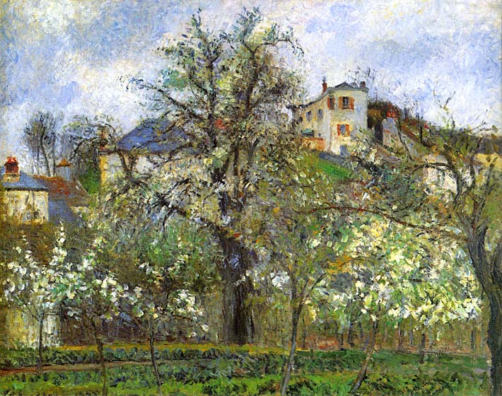 Camille Pissarro Kitchen Garden and Flowering Trees, Spring, Pontoise stretched canvas art print