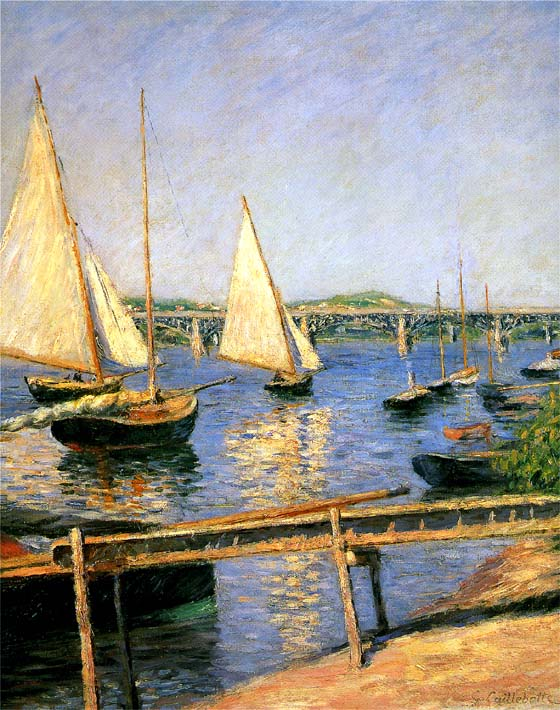 Gustave Caillebotte Sailing Boats at Argenteuil stretched canvas art print