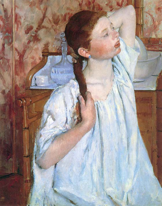 Mary Cassatt Girl Arranging Her Hair stretched canvas art print