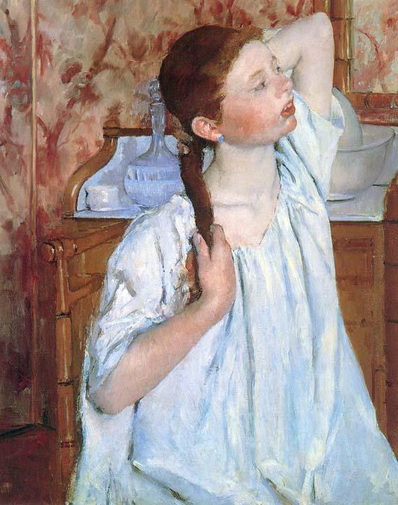 Mary Cassatt Girl Arranging Her Hair stretched canvas art print