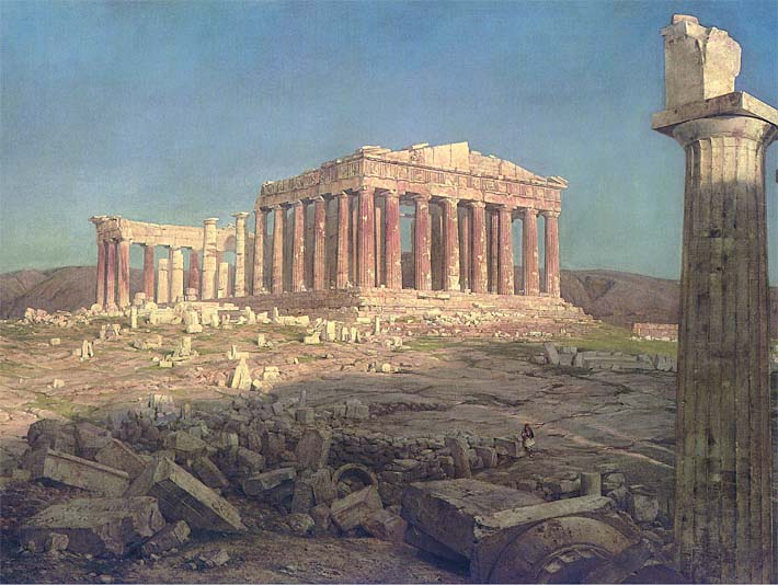 Frederic Edwin Church The Parthenon (detail) stretched canvas art print