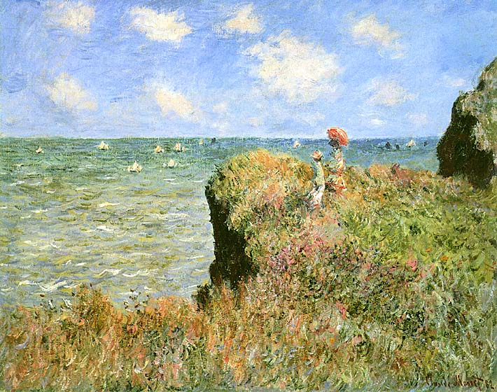 Claude Monet Walk on the Cliff at Pourville stretched canvas art print