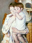 Mary Cassatt Baby on His Mother's Arm