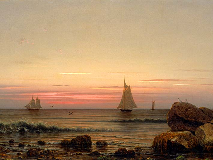 Martin Johnson Heade Sailing off the Coast (detail) stretched canvas art print
