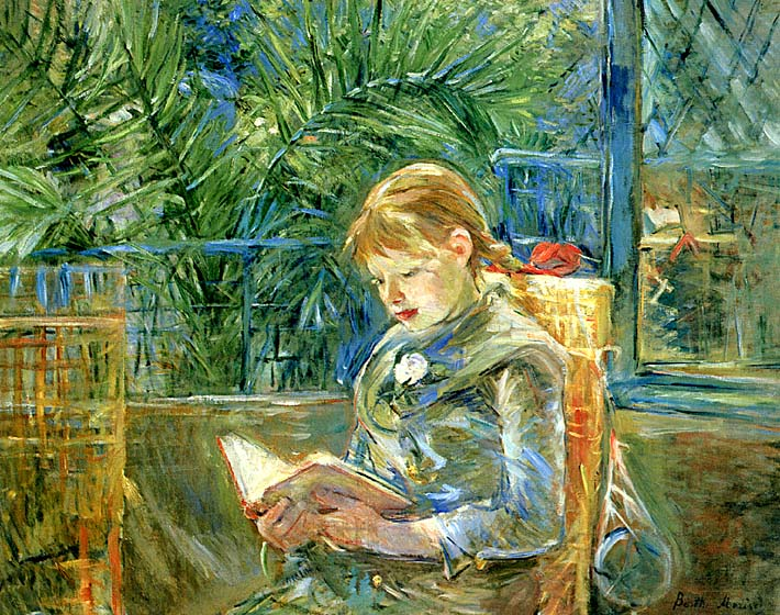 Berthe Morisot Little Girl Reading stretched canvas art print