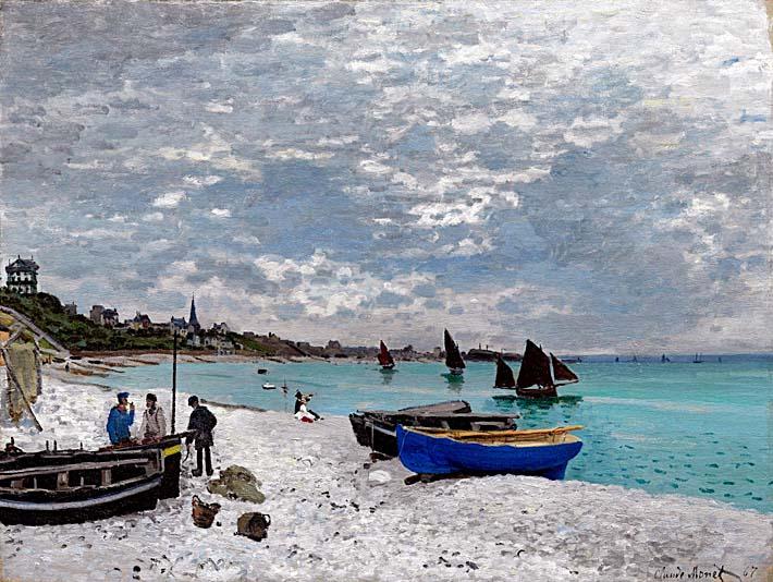 Claude Monet Beach at Sainte-Adresse stretched canvas art print