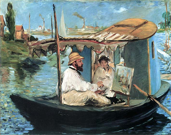 Edouard Manet Claude Monet in his Floating Studio stretched canvas art print
