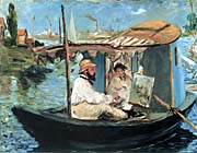 Edouard Manet Claude Monet in his Floating Studio