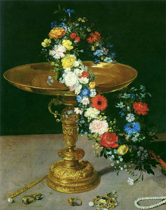 Jan Brueghel the Elder Gold Cup with Flower Wreath and Jewel Box (portrait detail) stretched canvas art print