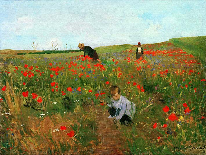 Mary Cassatt Poppies in a Field stretched canvas art print
