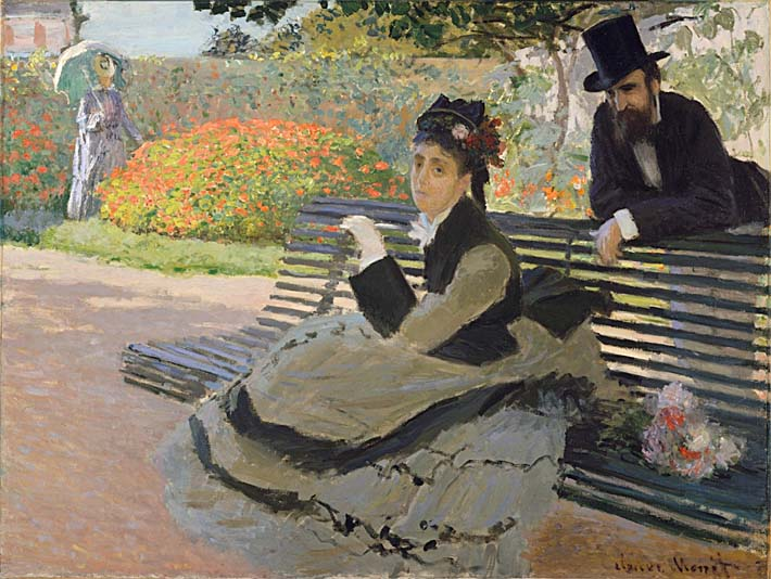 Claude Monet Camille Monet on a Garden Bench stretched canvas art print