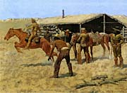 Frederic Remington The Coming And Going Of The Pony Express canvas prints