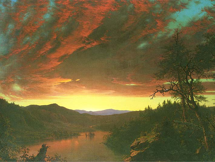 Frederic Edwin Church Twilight in the Wilderness (detail) stretched canvas art print