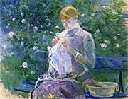Berthe Morisot Pasie Sewing in the Garden at Bougival