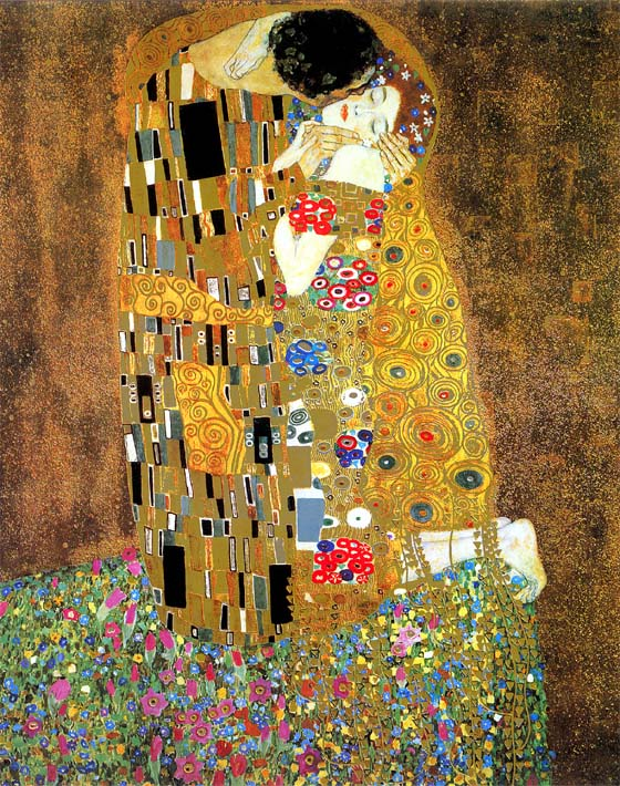 Gustav Klimt The Kiss (detail) stretched canvas art print