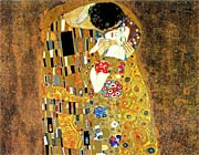 Gustav Klimt The Kiss (landscape detail)