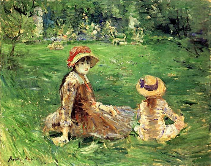 Berthe Morisot In the Garden at Maurecourt stretched canvas art print
