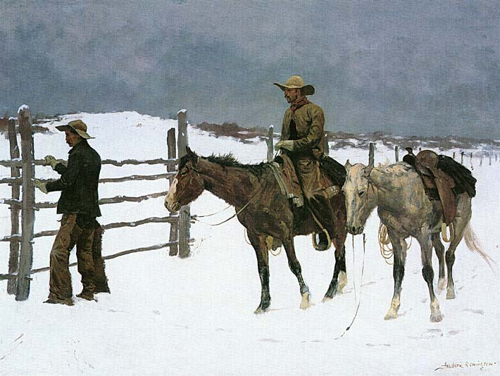 Frederic Remington The Fall of the Cowboy stretched canvas art print