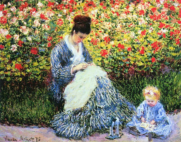 Claude Monet Camille Monet and Child in the Garden stretched canvas art print