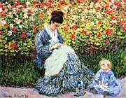 Claude Monet Camille Monet and Child in the Garden