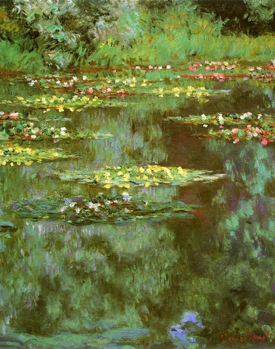 Claude Monet Nympheas 1906 (portrait detail) stretched canvas art print