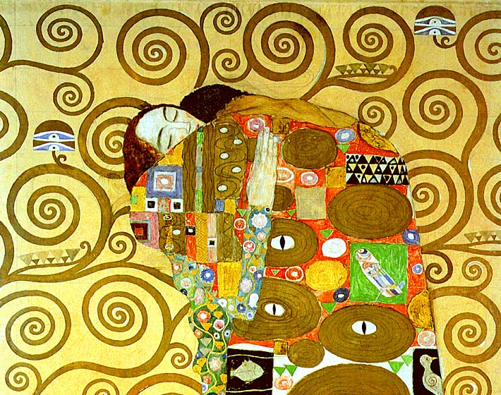 Gustav Klimt Fulfillment (close-up detail) stretched canvas art print