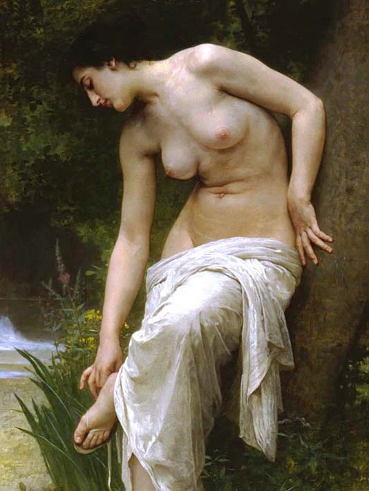 William Bouguereau Woman After the Bath stretched canvas art print