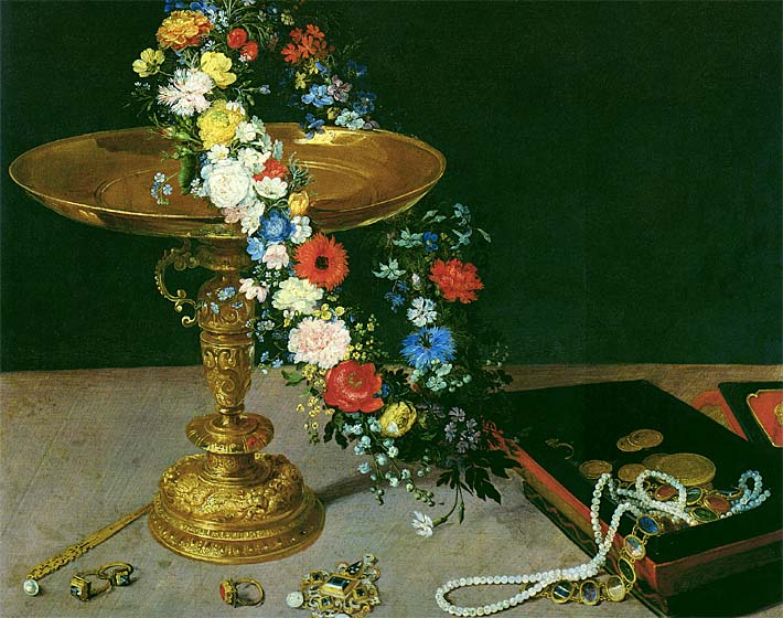 Jan Brueghel the Elder Gold Cup with Flower Wreath and Jewel Box (detail) stretched canvas art print