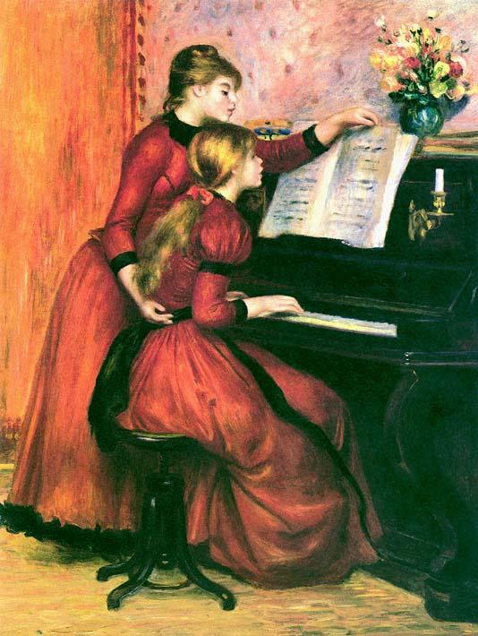 Pierre Auguste Renoir The Piano Lesson stretched canvas art print