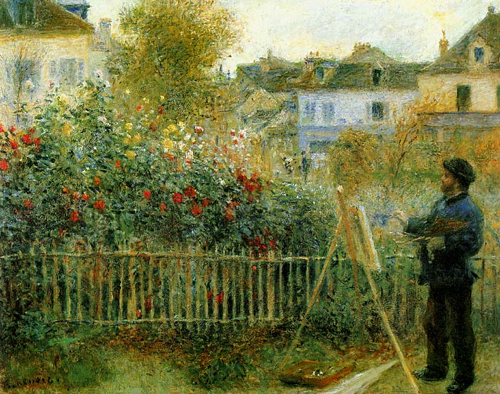 Pierre Auguste Renoir Claude Monet Painting in his Garden at Argenteuil stretched canvas art print