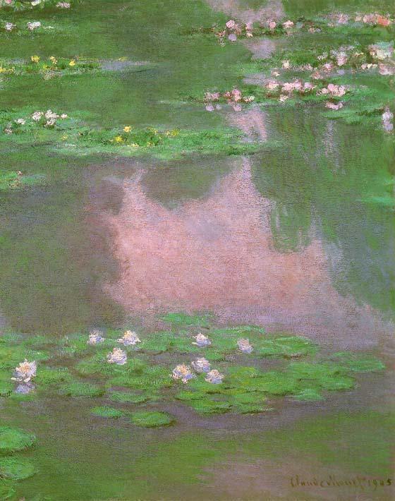 Claude Monet Water-Lilies 1905 (portrait detail) stretched canvas art print