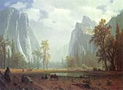 Albert Bierstadt Looking up the Yosemite Valley (detail)