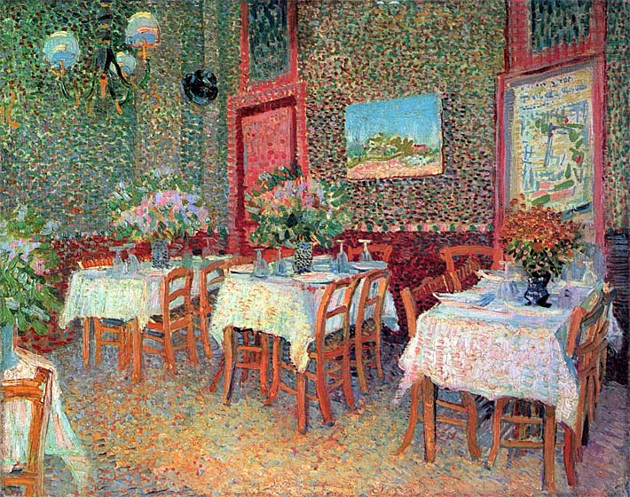 Vincent van Gogh Interior of a Restaurant stretched canvas art print