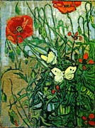 Vincent Van Gogh Poppies and Butterflies