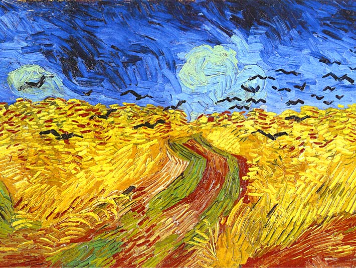Vincent van Gogh Wheat Field with Crows (detail) stretched canvas art print