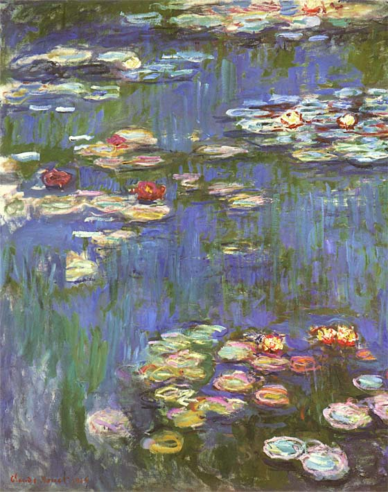 Claude Monet Water Lilies 1916 (portrait detail) stretched canvas art print