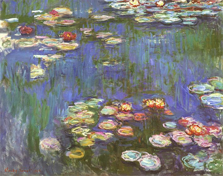 Claude Monet Water Lilies 1916 (detail) stretched canvas art print