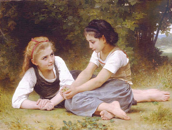 William Bouguereau Hazelnuts - The Nut Gatherers stretched canvas art print