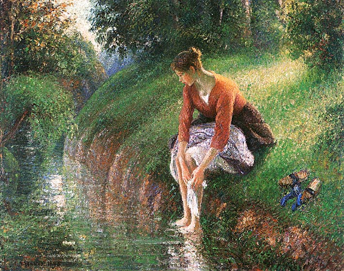 Camille Pissarro Woman Bathing Her Feet stretched canvas art print