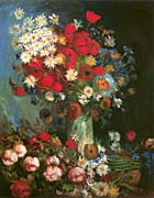 Vincent Van Gogh Vase with Poppies, Cornflowers, Peonies and Chrysanthemums